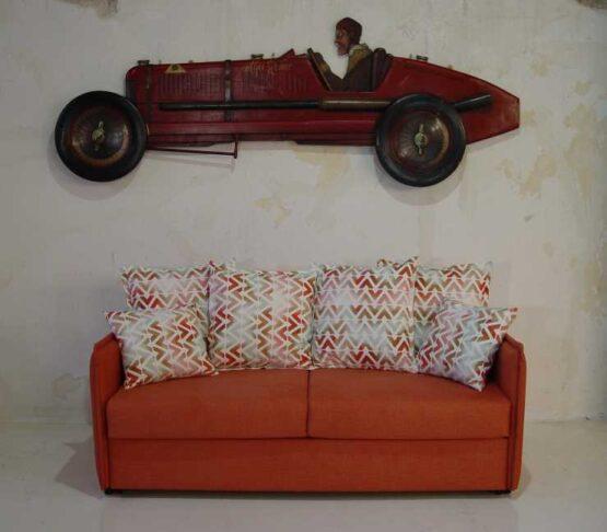 Καναπές κρεβάτι Ίμια λεπτό με ρέλι πλάτη ελεύθερα μαξιλάρια
