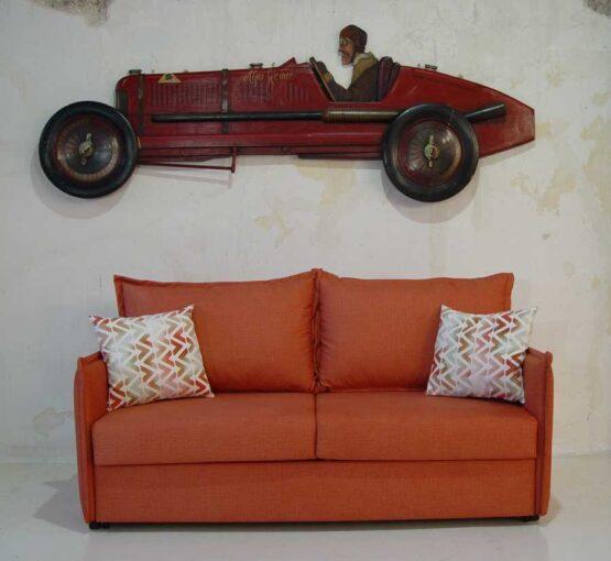 Καναπές-κρεβάτι-Ίμια-λεπτό-με-ρέλι-πλάτη-μαξιλάρια ρέλ